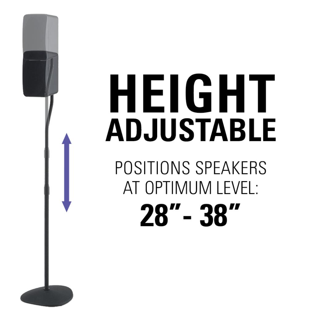 sanus adjustable height speaker stands with universal design for satellite u0026 bookshelf speakers pair - Sanus Speaker Stands